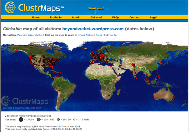 ClustrMap of BeyondWebCT Visitors