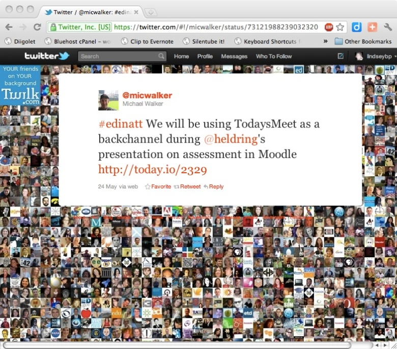 Michael Walker Tweet About Using TodaysMeet During An Online Presentation